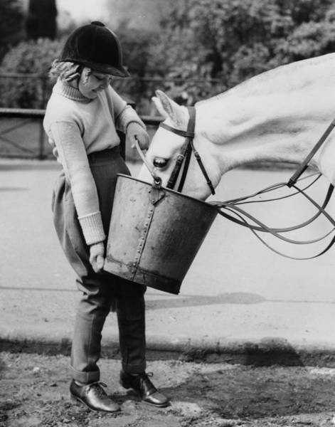 Girl And Horse Photograph - Feeding Time by Derek Berwin