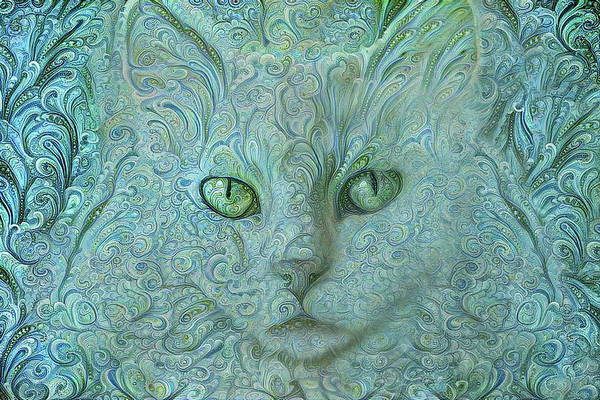 Digital Art - Feeling Blue - Long Haired White Cat by Peggy Collins