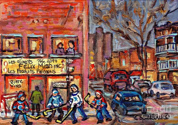 Painting - Felix Mish Charcuterie Polonais Hockey Boys Ville Emard Cote St Paul Resto Deli Grocery C Spandau by Carole Spandau