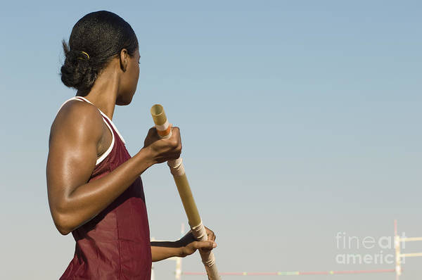 Wall Art - Photograph - Female Athlete Preparing For Pole Jump by Sirtravelalot