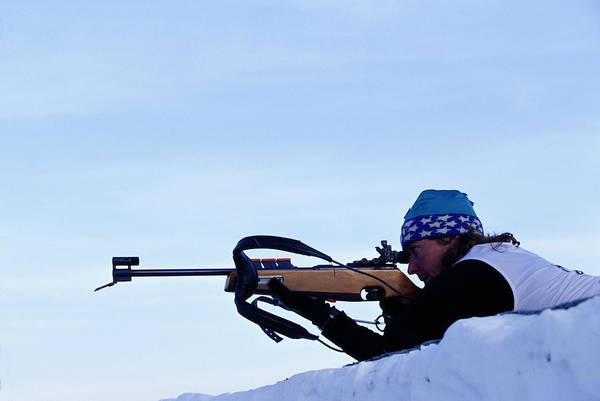 Rifle Photograph - Female Biathlete Shooting Rifle by Nathan Bilow
