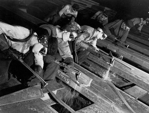 Armored Vehicle Photograph - Female Burners Using Acetylene Torches T by Margaret Bourke-white