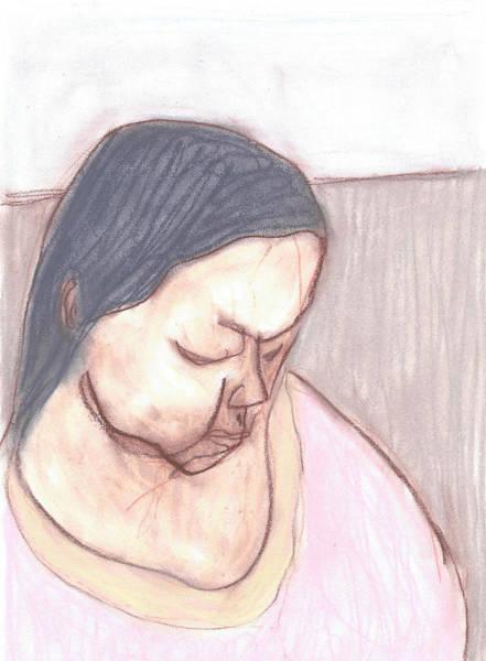 Drawing - Female Colour Portrait by Artist Dot