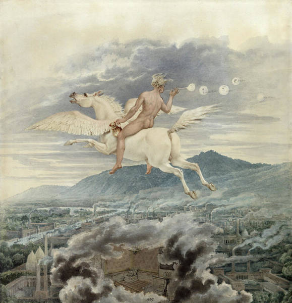 Wall Art - Painting - Female Figure, Blowing Bubbles, Riding Pegasus Over An Industrial City, 1837 by Karl Friedrich Schinkel