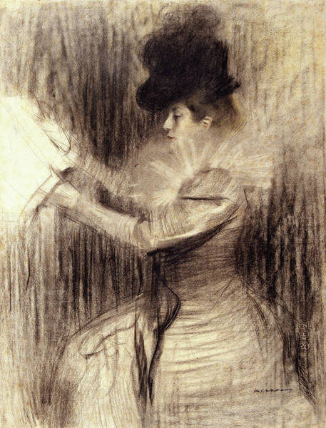 Wall Art - Painting - Female Figure - Digital Remastered Edition by Ramon Casas