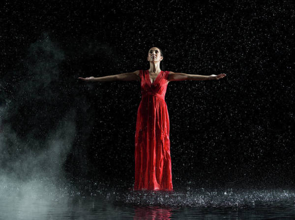 Red Dress Photograph - Female In Red In Water, Rainy And Misty by Jonathan Knowles