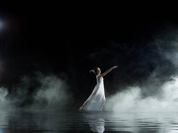 Human Arm Photograph - Female In White Dancing In Water, Misty by Jonathan Knowles