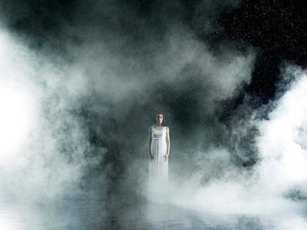 Beautiful People Photograph - Female In White In Rain,  Misty Night by Jonathan Knowles