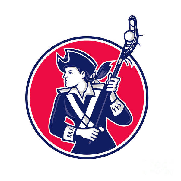 Lax Digital Art - Female Lacrosse Player Patriot Mascot by Aloysius Patrimonio