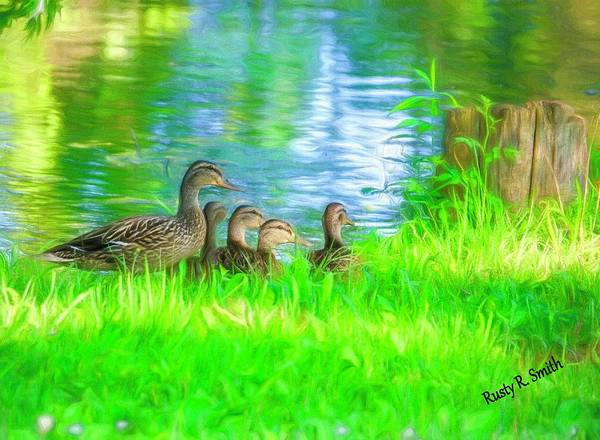 Digital Art - Female Mallard Duck With Four Ducklings. by Rusty R Smith