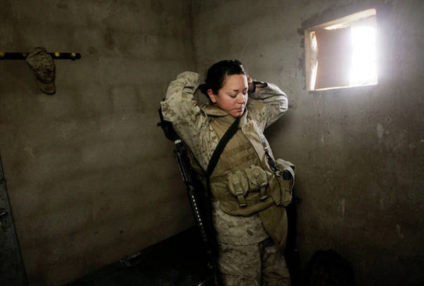 Us Marines Photograph - Female Marines Work Checkpoint In by Chris Hondros