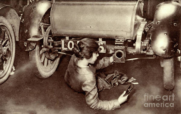 Wall Art - Photograph - Female Mechanic During World War One by English School