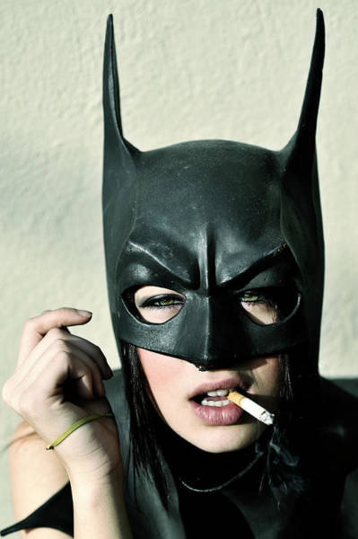 Vertical Photograph - Female Model Smoking With Batman Mask by Stephen Albanese