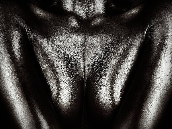 Upper Body Photograph - Female Nude Silver Oil Close-up 2 by Johan Swanepoel