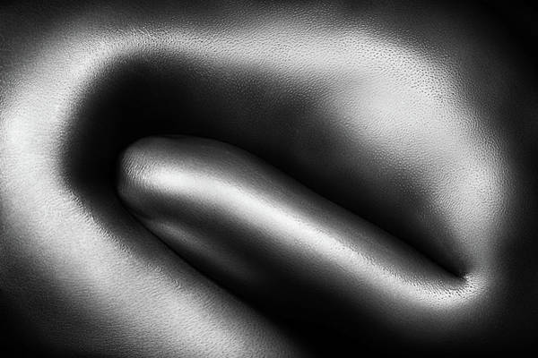 Upper Body Photograph - Female Nude Silver Oil Close-up 3 by Johan Swanepoel