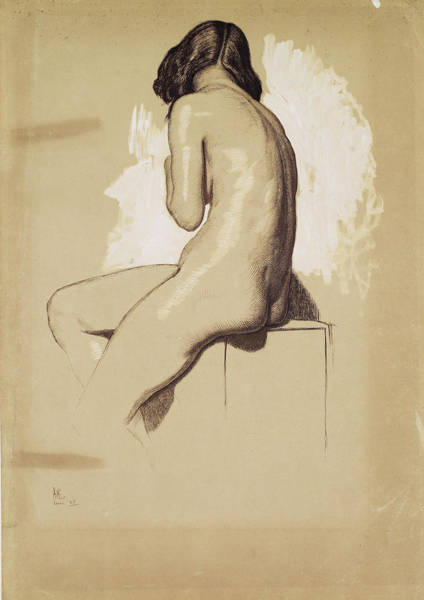 Wall Art - Painting - Female Nude, Study From Behind - Digital Remastered Edition by William Holman Hunt
