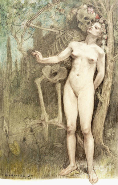 Attractive Drawing - Female Nude With Death As A Skeleton, 1897  by Armand Rassenfosse