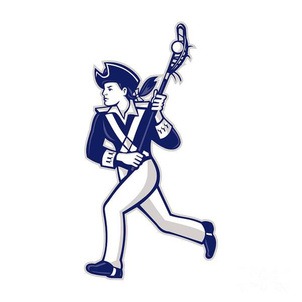 Lax Digital Art - Female Patriot Lacrosse Player Mascot by Aloysius Patrimonio