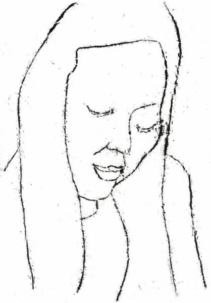 Drawing - Female Portrait Line Drawing by Artist Dot
