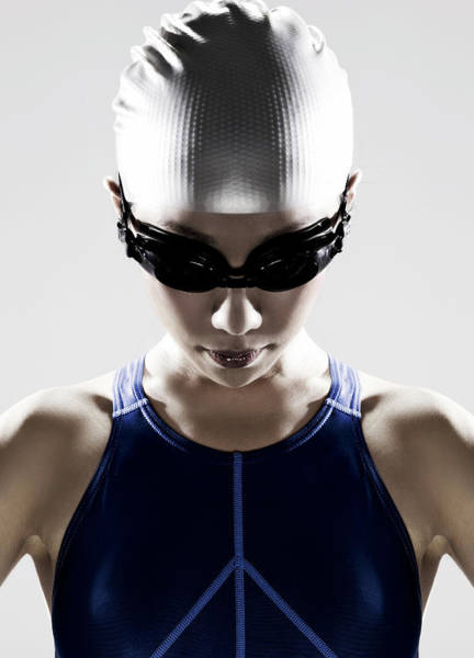 One Piece Swimsuit Photograph - Female Swimmer Wearing Swim Cap And by Ting Hoo