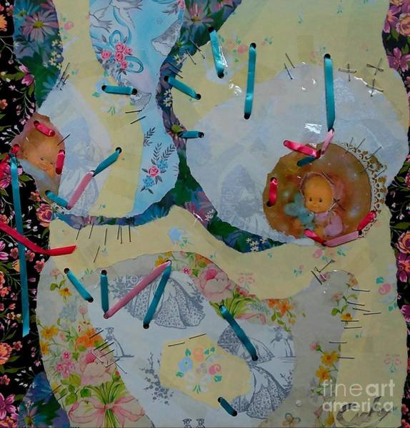 Pregnancy Mixed Media - Female Torso Series, Expectations  by Gloria Cichy