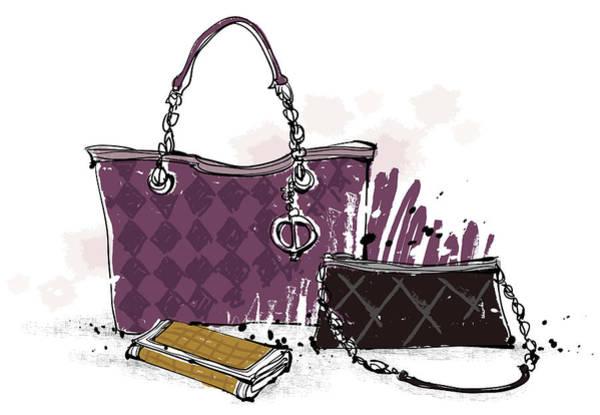 Wallet Wall Art - Digital Art - Feminine Bags by Eastnine Inc.