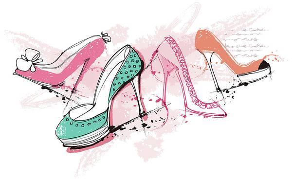 Close Digital Art - Feminine Shoes by Eastnine Inc.