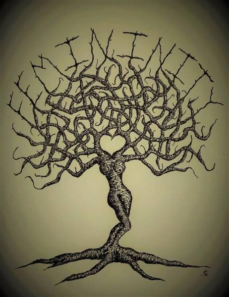 Drawing - Femininity Love Tree B/w by Aaron Bombalicki