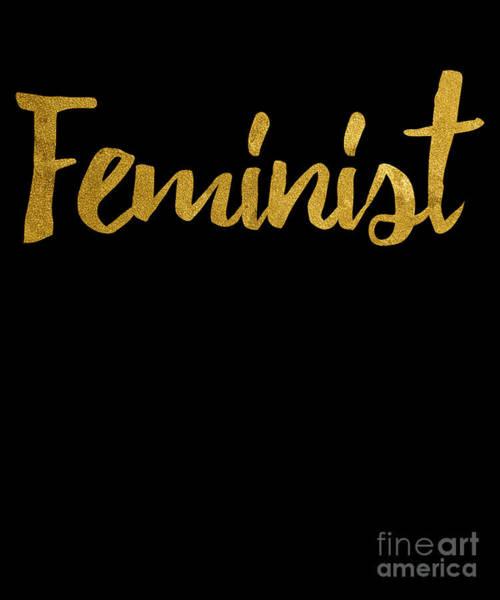 Feminist Digital Art - Feminist Gold Script by Flippin Sweet Gear