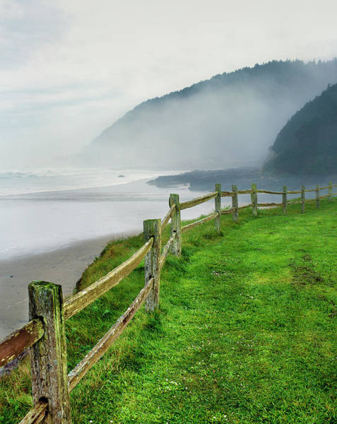 Cape Perpetua Wall Art - Photograph - Fence At Captain Cook Point, Neptune by Panoramic Images