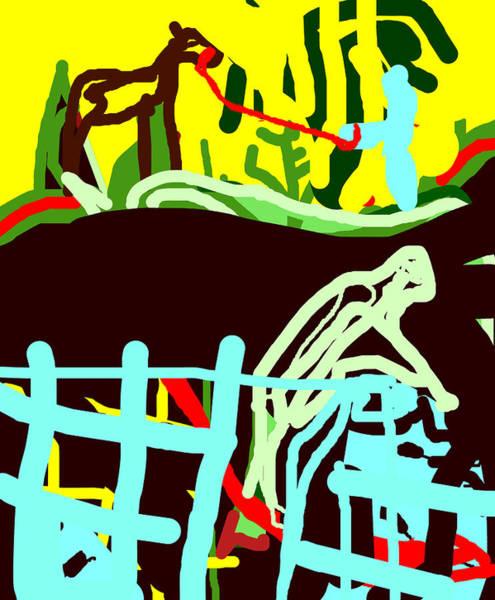 Digital Art - Fence Worker by Artist Dot