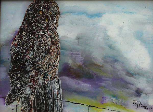 Fencepost Painting - Fencepost Sentry by Sally Tagliere