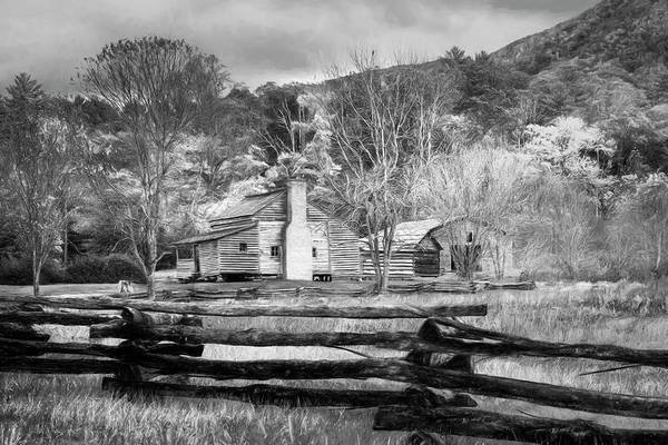 Photograph - Fences And Cabins Cades Cove In Black And White by Debra and Dave Vanderlaan