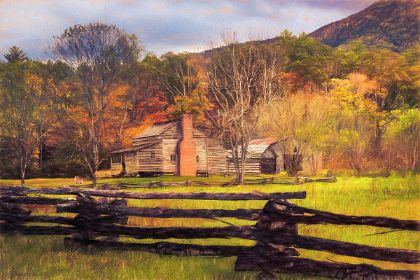 Photograph - Fences And Cabins Cades Cove Oil Painting by Debra and Dave Vanderlaan