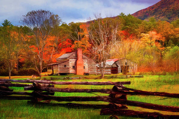 Photograph - Fences And Cabins Cades Cove Painting by Debra and Dave Vanderlaan
