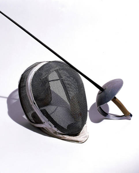 Protection Photograph - Fencing Helmet And Sword by Eric Anthony Johnson