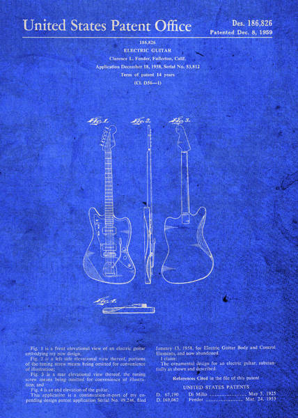 Patent Mixed Media - Fender Electric Guitar Patent Blueprint by Design Turnpike
