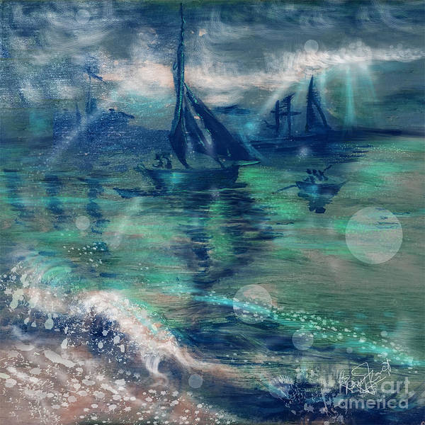 Feng Shui Your Life - Lucky Sailing Boat Art Print by Remy Francis