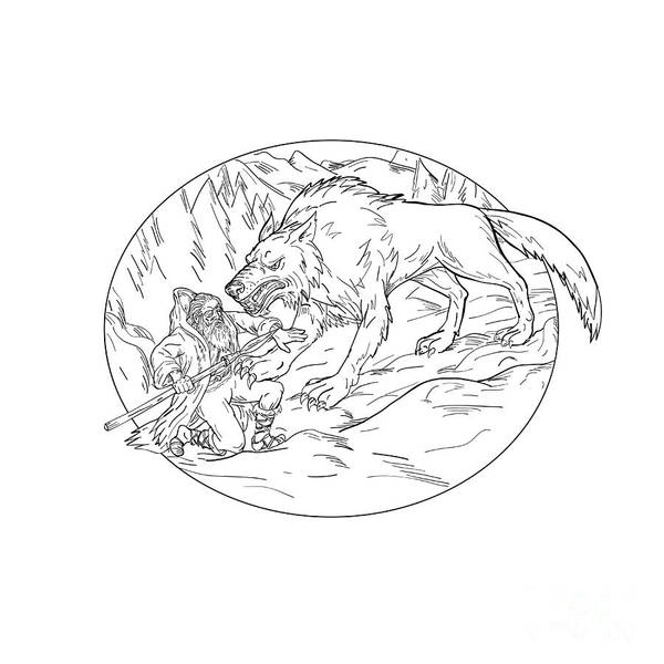 Wall Art - Digital Art - Fenrir Attacking Norse God Odin Drawing Black And White by Aloysius Patrimonio
