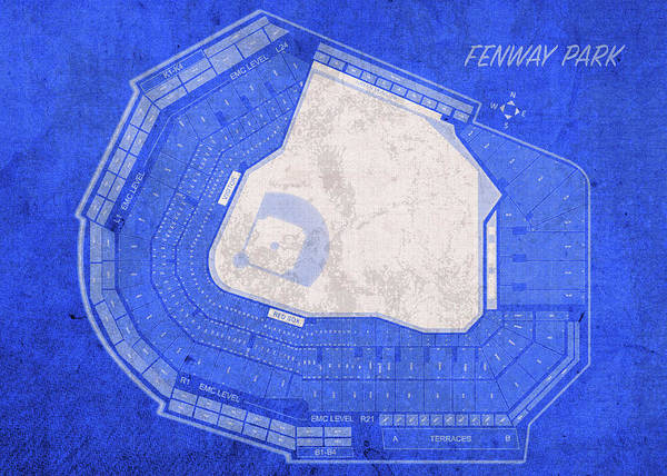 Wall Art - Mixed Media - Fenway Park Boston Seating Chart Vintage Patent Blueprint by Design Turnpike