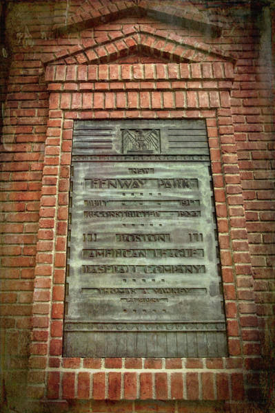 Photograph - Fenway Park Bronze Plaque by Joann Vitali