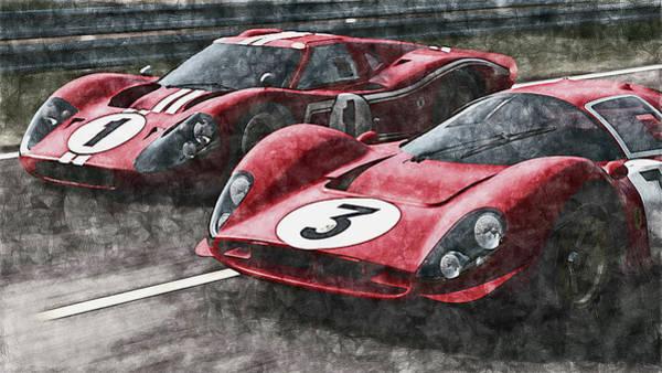 Painting - Ferrari 330 P4 Vs Ford Gt40 Mk Iv - 05 by Andrea Mazzocchetti