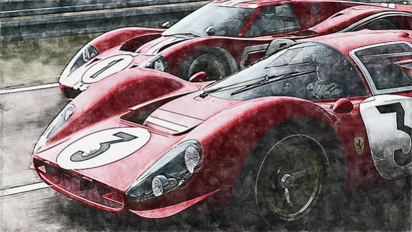 Painting - Ferrari 330 P4 Vs Ford Gt40 Mk Iv - 06 by Andrea Mazzocchetti