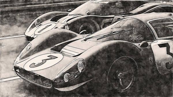 Painting - Ferrari 330 P4 Vs Ford Gt40 Mk Iv - 07 by Andrea Mazzocchetti