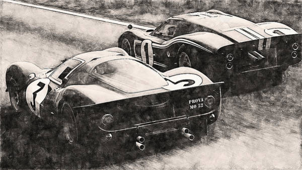 Painting - Ferrari 330 P4 Vs Ford Gt40 Mk Iv - 09 by Andrea Mazzocchetti