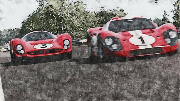 Painting - Ferrari 330 P4 Vs Ford Gt40 Mk Iv - 10 by Andrea Mazzocchetti