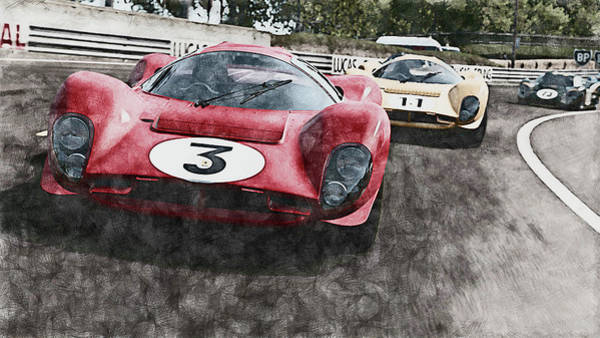 Painting - Ferrari 330 P4 Vs Ford Gt40 Mk Iv - 01 by Andrea Mazzocchetti