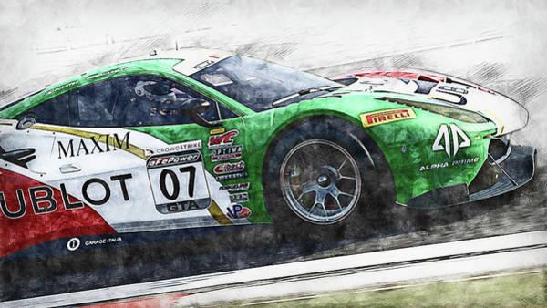 Painting - Ferrari 488 Gt3 Squadra Corse Garage Italia - 01 by Andrea Mazzocchetti