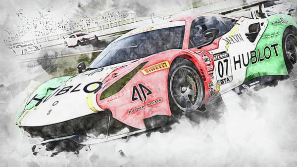 Painting - Ferrari 488 Gt3 Squadra Corse Garage Italia - 02 by Andrea Mazzocchetti
