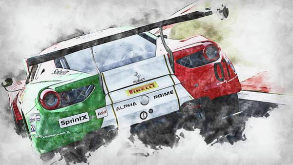 Painting - Ferrari 488 Gt3 Squadra Corse Garage Italia - 03 by Andrea Mazzocchetti